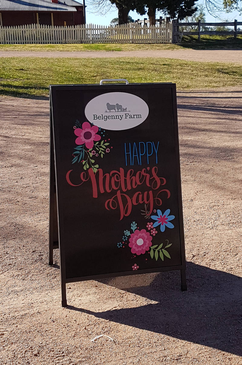 Mothers Day A-Frame sign at Belgenny Farm in Camden.
